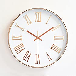 Ukey Wall Clock 12 Silent Non Ticking Quartz Roman Numeral Clock, 3D Numbers Display, Plating Frame Decorative Wall Clock for Living Room, Bedroom, Kitchen (Battery Not Included) Rose Pink