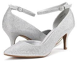 DREAM PAIRS Women's Ideal Silver Glitter Low Heel Dress Pump Shoes - 8.5 M US