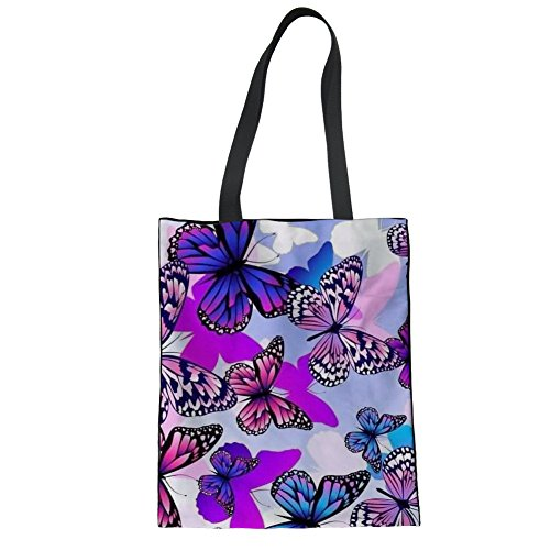 Nopersonality Butterfly Printed Shoulder Bag Lady Casual Tote Bags Women Daily Use Butterfly Print-4