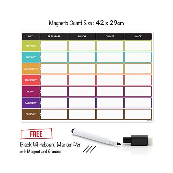 CKB Ltd Meal Diet Planner | Food Prep Nutrition Fitness Magnetic Refrigerator Board With Pen A3 Dry Wipe Magnet Whiteboard Kitchen Weekly Daily Ideal For Planning Family Meals Bodybuilding And Dieting 51xvLMcynmL