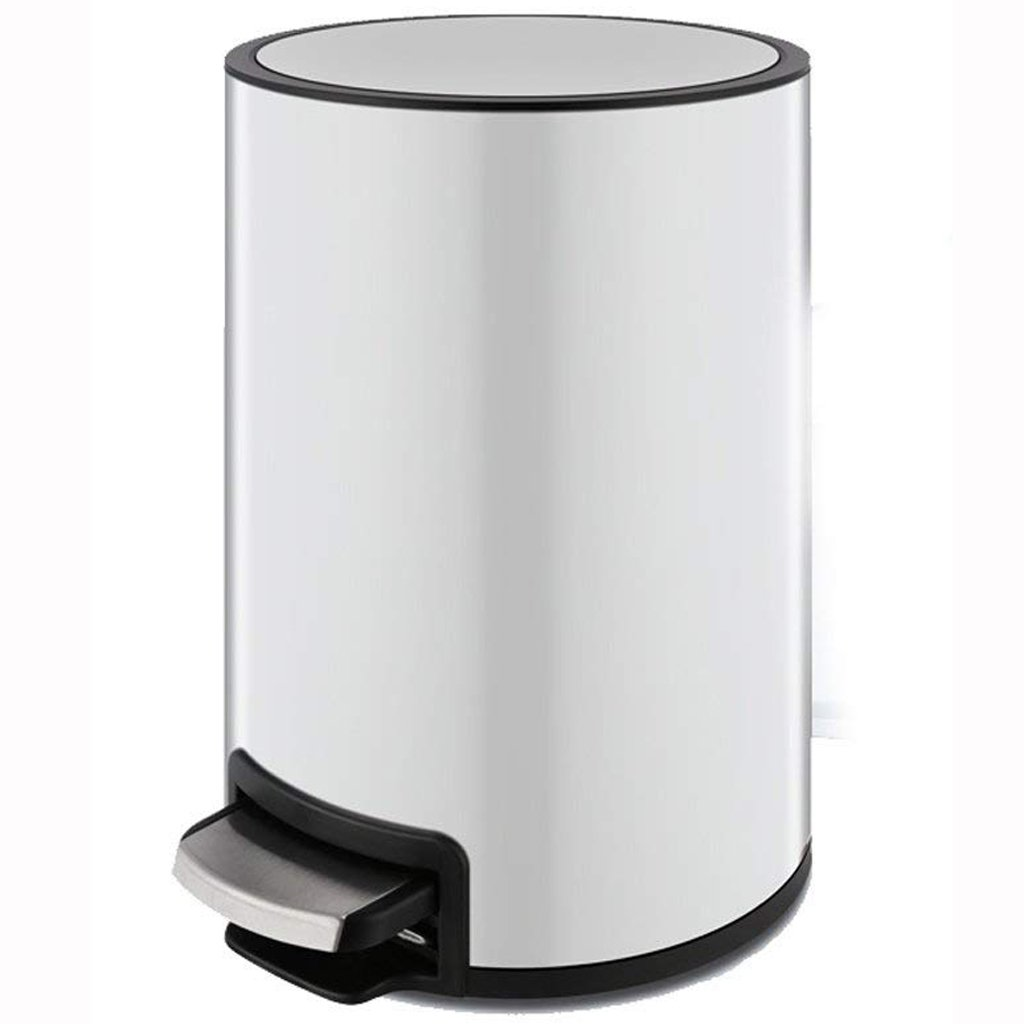 Jueven European Stainless Steel Trash Can Household Pedal Creative Bathroom Kitchen Living Room Bedroom with Cover Multi-color Silent Trash (Color : White, Size : 8L)