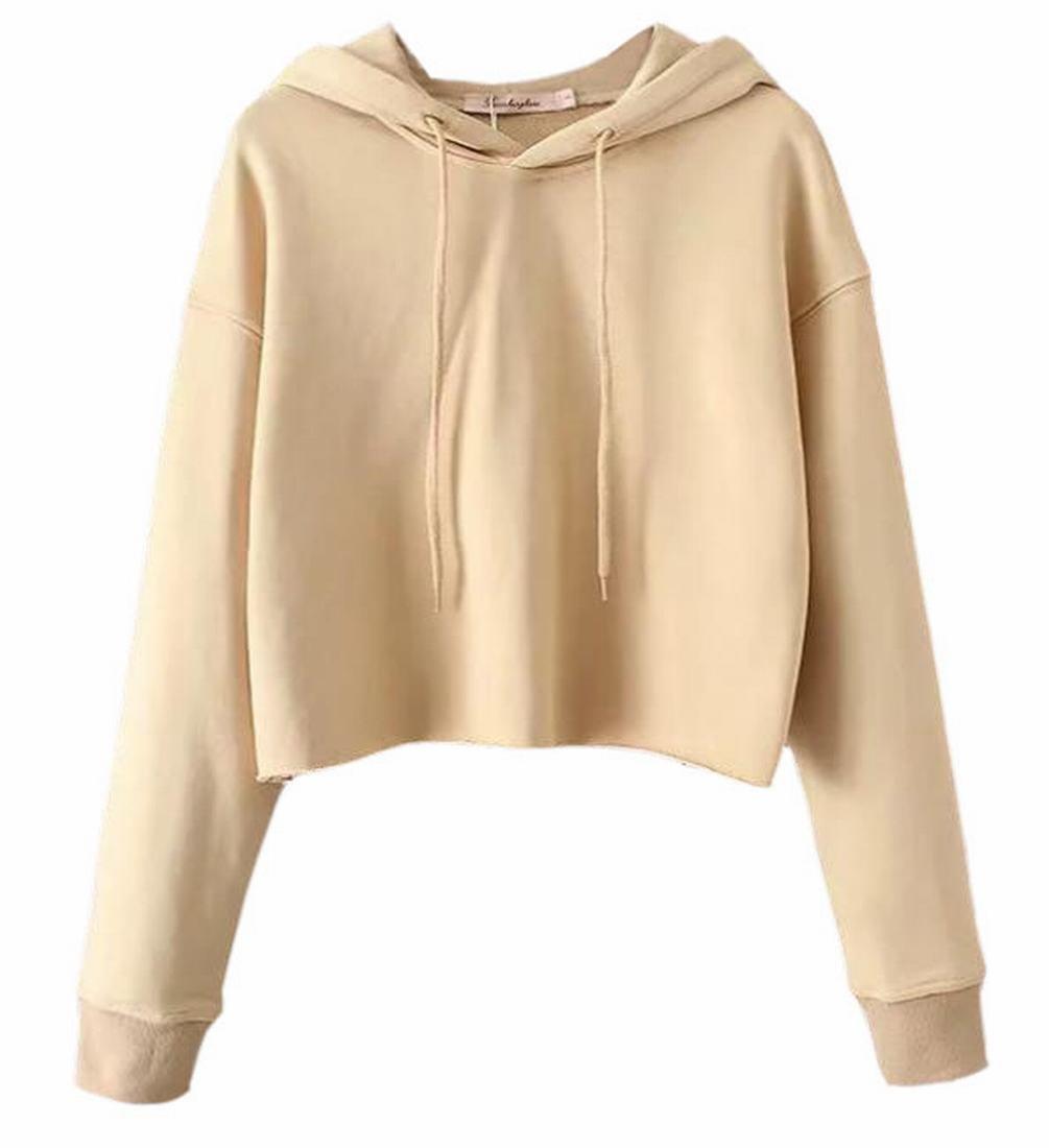 RRINSINS Women Drawstring Crop Top Hoodies Pullover Sweatshirt Khaki M