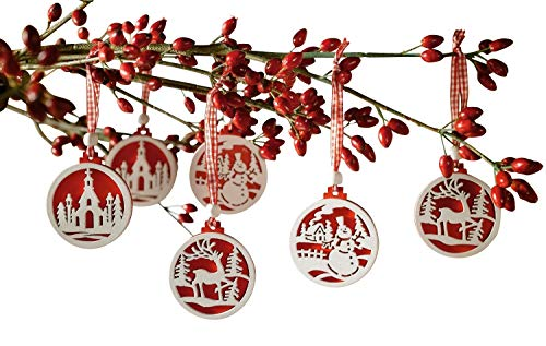 khevga Set of 18 Christmas Tree Decorations - Made of Wood in red and White -