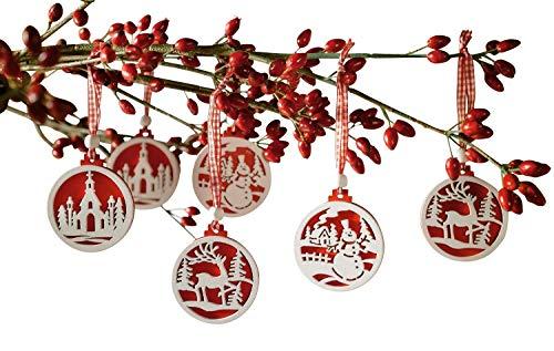 khevga Set of 18 Christmas Tree Decorations - Made of Wood in red and White (Christmas Tree Set Decorations)