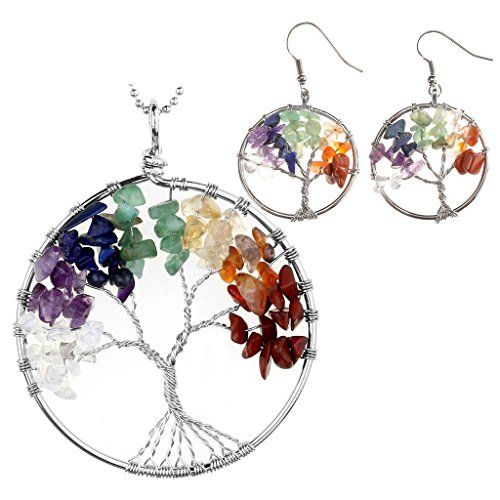 JOVIVI 7 Chakras Healing Crystal Quartz Tree of Life Necklace & Earrings Jewelry Set,Mothers Day ()