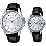 Casio Set of two for Couple - Analog Leather Band Watches - MTP/LTP-V004L-7A, White