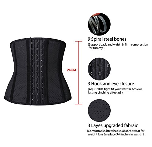 YIANNA Short Torso Waist Trainer Corset for Weight Loss Underbust Sports Workout Hourglass Body Shaper