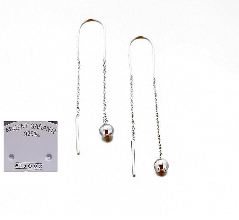Boucles D/'oreilles Chaîne pendantes Argent Massif 925//000 Bijoux Femme