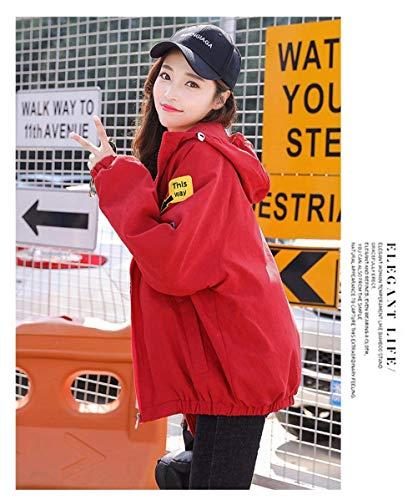 Di Lunga Con Patch Rot Eleganti Manica Cerniera Autunno Cappotto Allentato Primaverile Distintivo Baggy Moda Giacche Stlie Cappuccio Outerwear Donna Grazioso Giacca RPdYqII