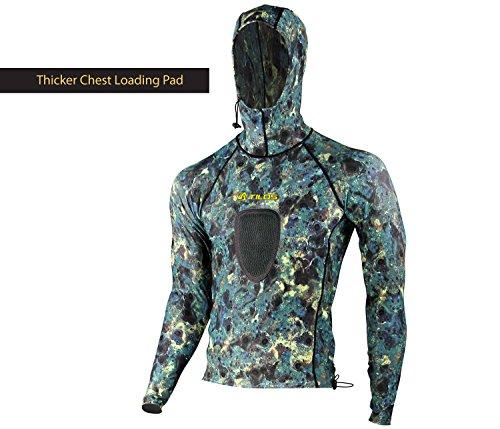 Tilos Camouflage 5.5oz Spearfishing UPF 50+ Rash Guard w/Hood ... (Padded Green Camo, Large)