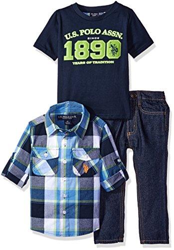 U.S. Polo Assn. Little Boys' Toddler 3 Piece Long Sleeve Shirt, T-Shirt Or Creeper, and Denim Jean Set, Navy/Plaid, 2T Image