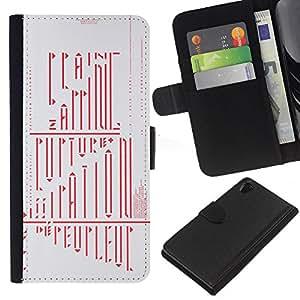 A-type (Caligrafía enigma misterioso Red) Colorida Impresión Funda Cuero Monedero Caja Bolsa Cubierta Caja Piel Card Slots Para Sony Xperia Z2 D6502