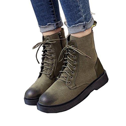 ENMAYER Botines de gamuza para mujer Botines cruzados Zapatos de punta redonda Ejercito verde