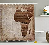 Ambesonne African Decor Shower Curtain, Geography Theme Grunge Vintage Wooden Plank Africa Map Digital Print, Fabric Bathroom Decor Set with Hooks, 75 Inches Long, Tan Umber and Brown