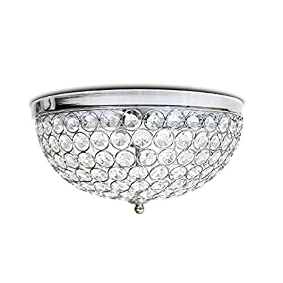 "12"" Chrome Finish Crystal Chandelier with 3 lights, Bowl shape Flush Mount Ceiling Light Fixture for Study Room/Office, Dining Room, Bedroom, Living Room"
