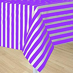 5 Pack Premium Disposable Plastic Tablecloth 54 Inch. x 108 Inch. Rectangle Table Cover Party Weddings Events Celebration (Purple Stripe)