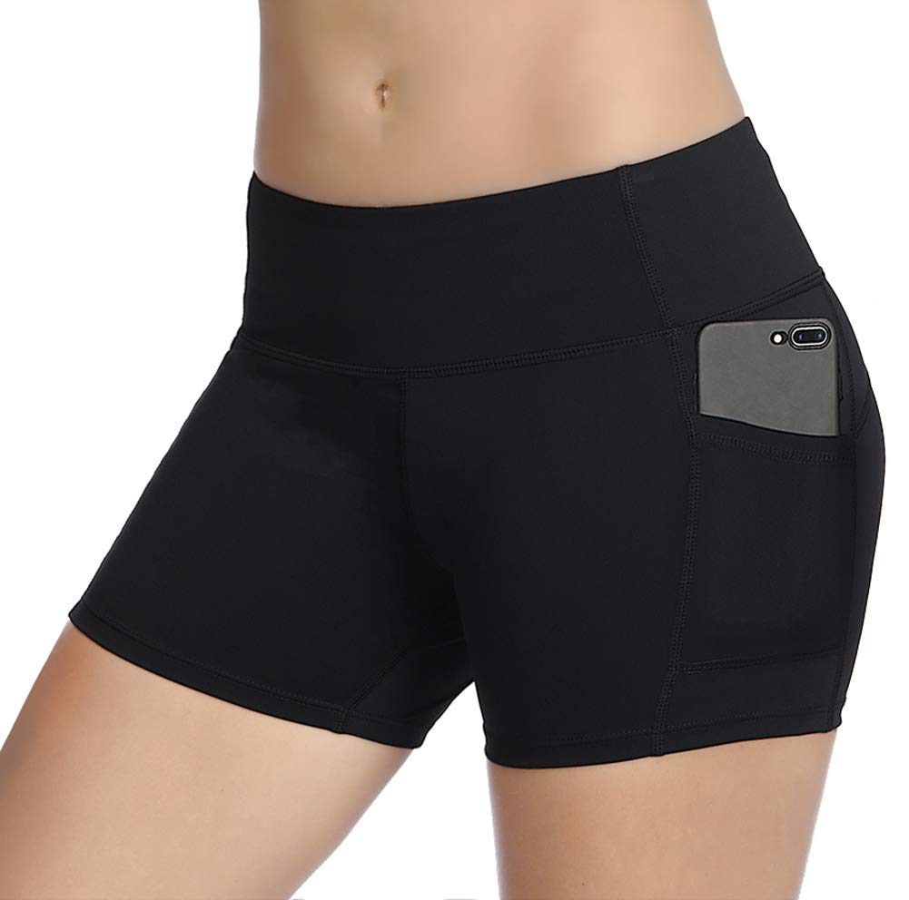 THE GYM PEOPLE Compression Short Yoga Shorts Women Power Flex Running Fitness Shorts with Pockets (Medium, Black)