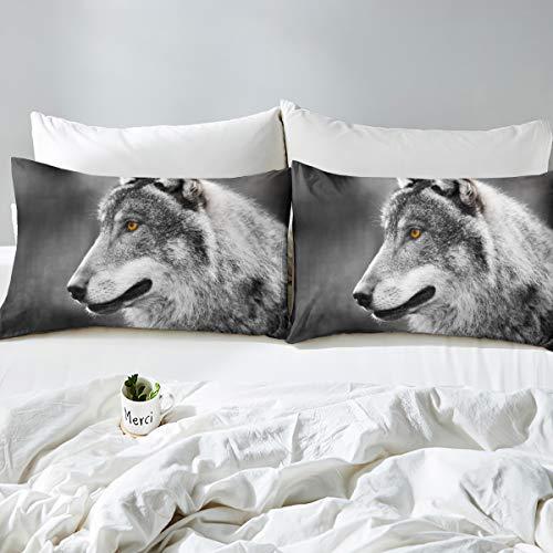3D Wolf Print Duvet Cover Set Safari Animal Pattern Comforter Cover for Kids Boys Teens Cool Wildlife Style Wildlife Skin-Friendly Bedding Set Decor 3Pcs Bedspread Cover Full Size Gray