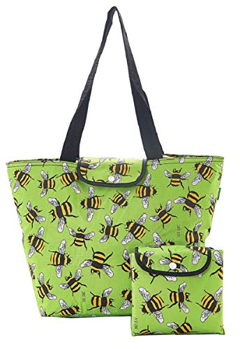 Eco Chic Large Foldable Insulated Cool Bag/Cooler Bag/Picnic Camping Bag (Bees Green) ()