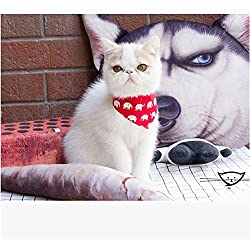 Stock Show Pet Cat Triangle Bibs Scarf with Botton Cute Fashion Neckerchief Collar Necktie for Kitten/Kitty/Puppy, M, Red Elephant