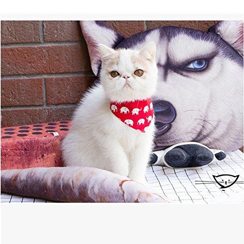 Bandana Cat - Stock Show Pet Cat Triangle Bibs Scarf with Botton Cute Fashion Neckerchief Collar Necktie for Kitten/Kitty/Puppy, M, Red Elephant