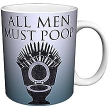 All Men Must Poop Game of Thrones Spoof Novelty Toilet Bathroom Humor Ceramic Gift Coffee (Tea, Cocoa) Mug