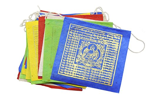 HANDS OF TIBET SMALL HANDMADE PAPER MEDICINE BUDDHA PRAYER FLAGS