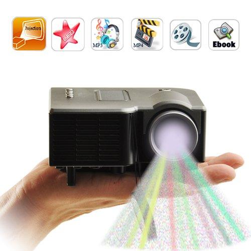 "RioRand 60"" Portable Mini LED Projector Cinema Theater, Support PC Laptop VGA Input and SD + USB + AV Input (Black)"