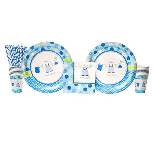 Shower with Love Boy Baby Shower Party Supplies Pack for 16 Guests |Paper Straws, 16 Dinner Plates, 16 Luncheon Napkins, and 16 Cups| Perfect Setting for Baby Shower Plates and Napkins Boy | Cute!