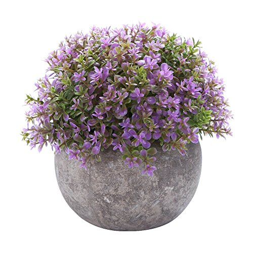 - Aneil Vintage Bonsai Artificial Plant Ornaments Flower Grass Ball Pot Home Decoration Realistic Plastic Plants (A)