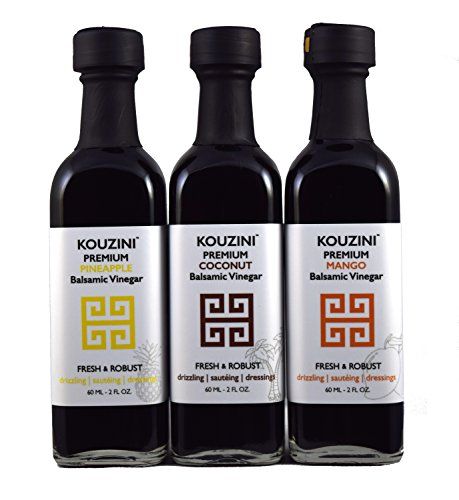 Kouzini Tropical vinegar set. 3-Pack 60ml mini bottles. Summer (Summer Limited Edition Bottle)