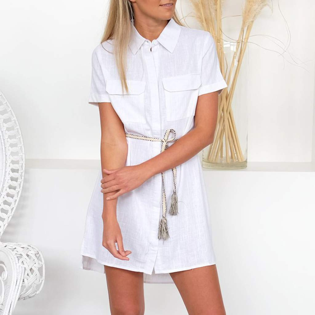 Peize Womens Solid Casual Short Sleeve Button Up Loose Shirt Pockets Ladies Mini Dress