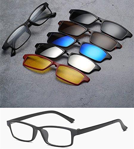 2251 Set con Light Memoryee 5Pcs TR magnético sol Gafas clip Ultra polarizadas Retro de desmontables Unisex Frames qFwa8TFnZ