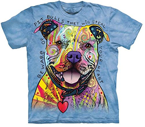 The Mountain Men's Beware of Pit Bulls T-Shirt, Blue, S