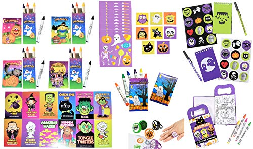 Halloween 53pc Party Favors Assortment for Kids - Halloween Coloring & Activity Books, Stickers, Stampers Rings, Crayons, Stationery Set - Arts & Crafts Reward Prizes Trick-or-Treat Handouts Bundle 53