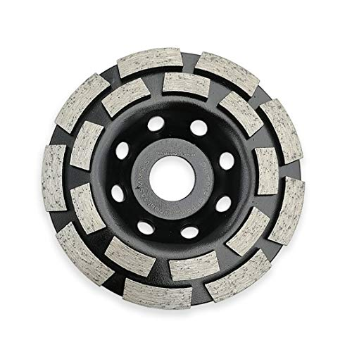 (SHDIATOOL 4-1/2 Inch Diamond Double Row Grinding Cup Wheel for Concrete Masonry Granite Marble Diamond Grinding Disc Fits 7/8 Inch Arbor)