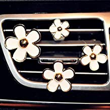INEBIZ Car Charm Beautiful Daisy Flowers Air Vent Decorations Cute Automotive Interior Trim, 4 pcs with Different Sizes (White)