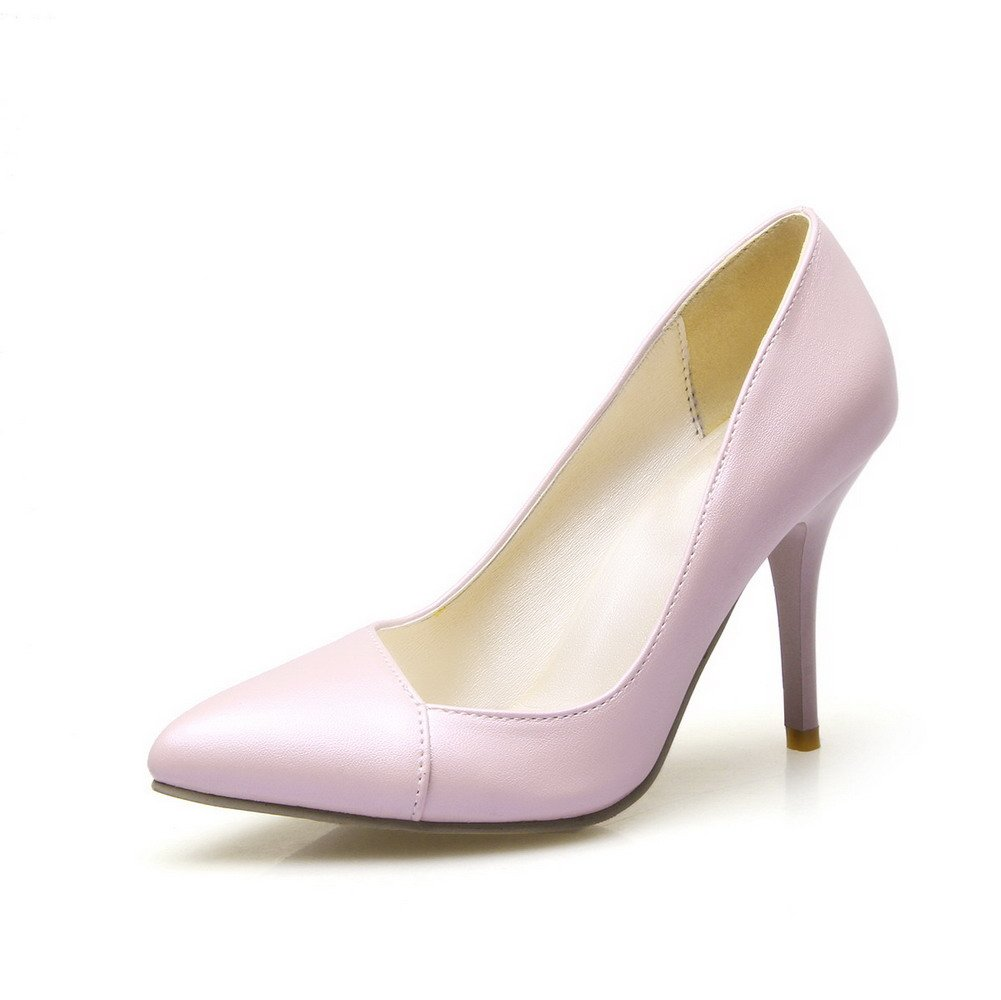 WeiPoot Women's Pull On Pointed Closed Toe Spikes Stilettos Solid Flats-Shoes, Pink, 37