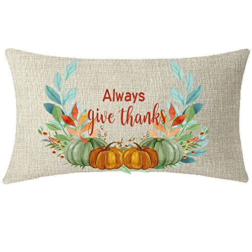 NIDITW Nice Gift Golden Autumn Blessing Always Give Thanks Harvest Pumpkins Wreath Lumbar Waist Cotton Linen Throw Pillow case Cushion Cover Sofa Chair Decorative Oblong Long 12x20 inches