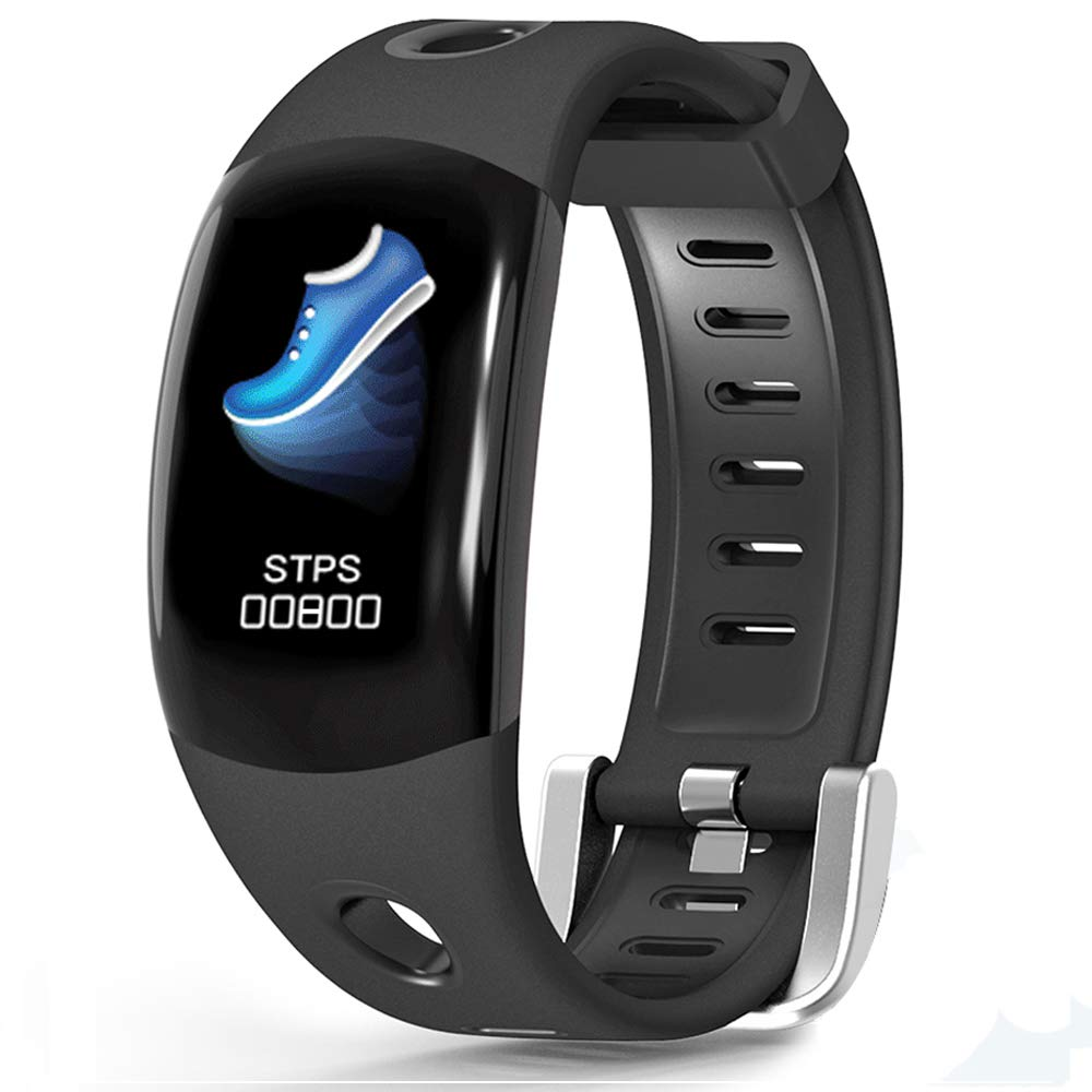 LATITOP Fitness Tracker Large 3D Color Screen with Heart Rate Monitor, Pedometer, Calorie Burned Counter, Sleep Monitor, Stopwatch,IP67 Waterproof Smart Watch for Women Men, Compatible with Android IOS (Black)