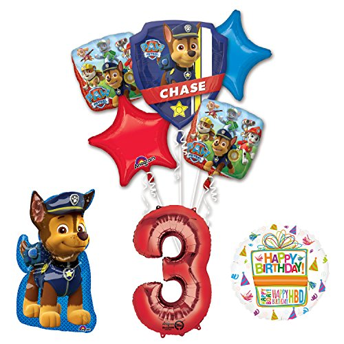 Mayflower Products The Ultimate Paw Patrol 3rd Birthday Party Supplies and Balloon -