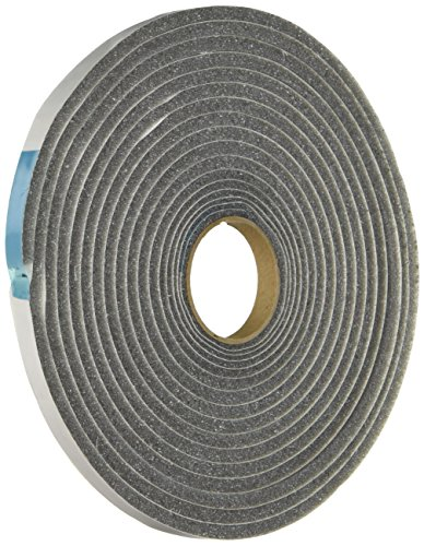 MD 02055 M-D Low Density Open Cell Self-Adhesive Foam Tape, 17 Ft L X W 3/8 in T, Gray