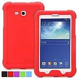 Galaxy Tab 3 Lite 7.0, Tab E Lite 7.0 Case - Poetic [Turtle Skin Series] - Corner/Bumper Protection Grip Protective Silicone Case for Samsung Galaxy Tab 3 Lite 7.0 2014, Tab E Lite 7.0 2016 Red
