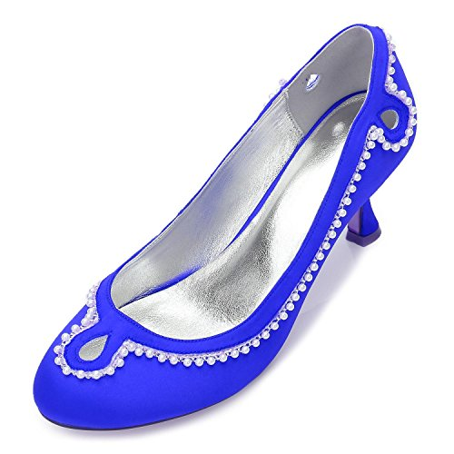 L@YC Rhinestone De Las Mujeres R17061-36 Boda Cerrada Bajo TalóN Del Bloque Hebilla SatéN Zapatos De Novia De La Boda Blue