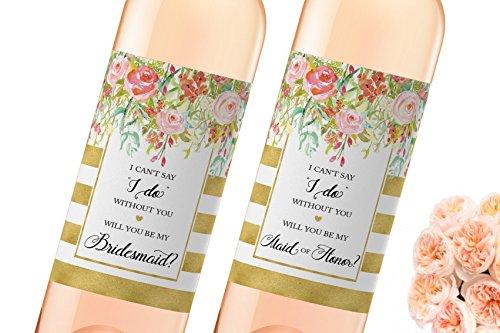 ● SET of 8 ● Bridesmaid Proposal Wine Labels - SET includes 7 Will You Be My Bridesmaid Wine Labels + 1 Maid of Honor Label, Wedding Party Bridal Party Ask, Bridesmaid Gift Box, WATERPROOF, 450G-7B1M (Wine Le Mini)