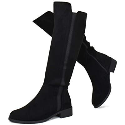 Prime Shoes - Women's Elastic Panel Knee High Boot - Zipper Comfortable Walking Boots | Knee-High