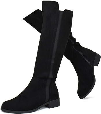 Women's Elastic Panel Knee High Boot