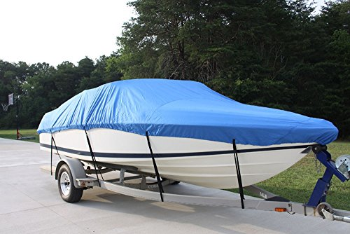 NEW VORTEX 5 YEAR CANVAS HEAVY DUTY BLUE VHULL FISH SKI RUNABOUT COVER FOR 26 to 27 to 28' FT BOAT, IDEAL FOR 108