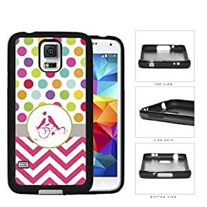 Colorful Polka Dots Design with Pink Chevron Gray Stripe and Pink Love Birds in Center Hard Cell Phone Case Cover Samsung Galaxy S5 I9600