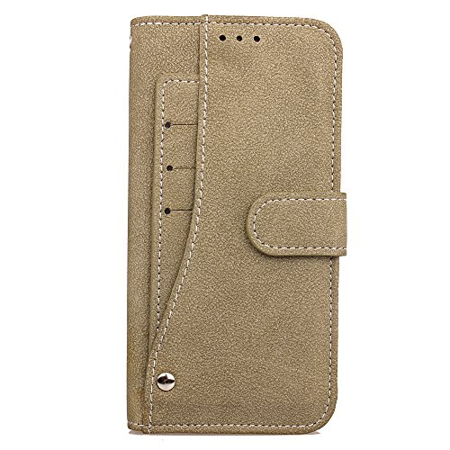 Cubix Flip Cover for Samsung Galaxy S7 Edge Slide Out Pouch Leather Wallet Case Protective Back Cover  Khaki